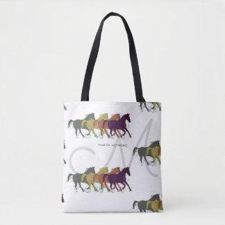 Tote Bag chevaux avec nommé et initial sur le blanc