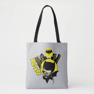 Tote Bag Chibi Batman mesurant la ville