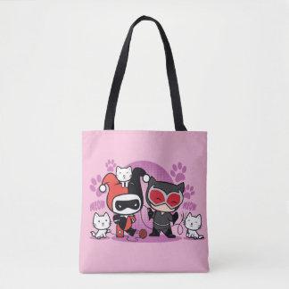 Tote Bag Chibi Harley Quinn et Catwoman de Chibi avec des