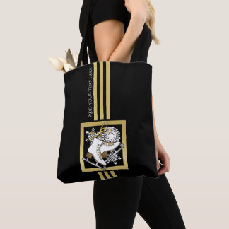 Tote Bag Chic moderne d'or de Faux de noir de patinage