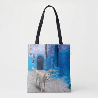 Tote Bag Chien dans la ville bleue