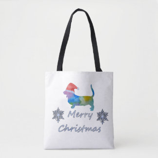 Tote Bag Chien de basset de Noël