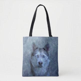 Tote Bag Chien de traîneau bleu de loup