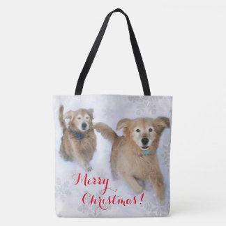 Tote Bag Chiens d'arrêt d'or se précipitant par Noël de