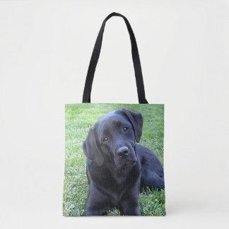 Tote Bag Chiot noir de Labrador - journée de printemps