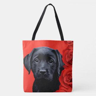 Tote Bag Chiot noir de Labrador - roses de Valentine