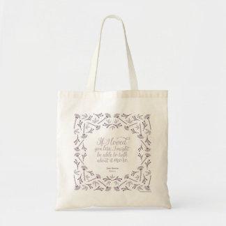 Tote Bag Citation florale livresque d'amour de Jane Austen
