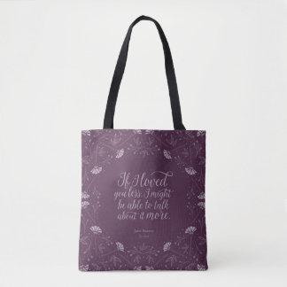 Tote Bag Citation florale pourpre d'amour de livre de Jane