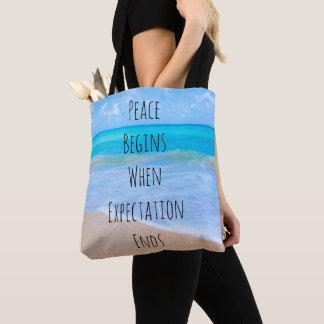 Tote Bag Citation inspirée avec la scène tropicale de plage