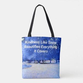Tote Bag Citation inspirée blanche bleue de gentillesse