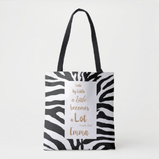 Tote Bag Citation inspirée personnalisable noire et blanche
