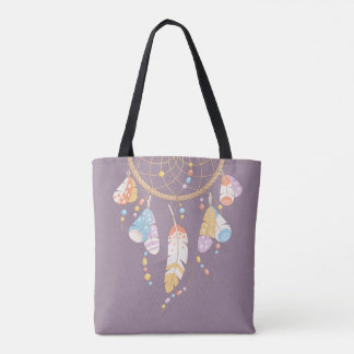 Tote Bag Citation pourpre tribale de Dreamcatcher Boho