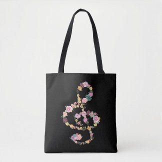Tote Bag clef triple de musique florale romantique sur le