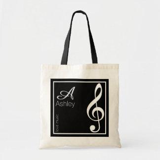 Tote Bag clef triple de nom, initiale et blanche, noir de