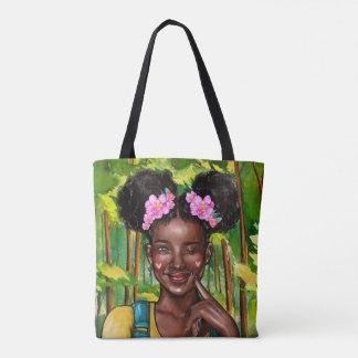 Tote Bag Cligner de l'oeil la fille Fourre-tout d'Afro