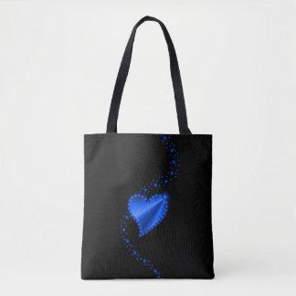 Tote Bag Coeur bleu d'arc-en-ciel avec des étoiles sur le