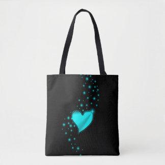 Tote Bag Coeur d'arc-en-ciel d'Azur avec des étoiles sur le