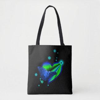 Tote Bag Coeur d'arc-en-ciel de vert bleu avec des étoiles