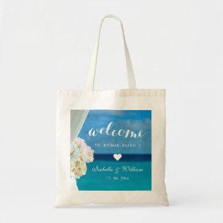 Tote Bag Coeur floral élégant d'accueil de mariage de plage