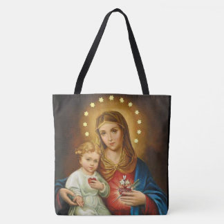 Tote Bag Coeur impeccable vintage de Mary w/Baby Jésus
