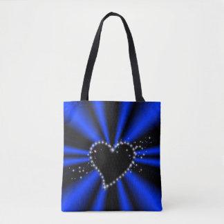 Tote Bag Coeur noir avec des étoiles sur l'arc-en-ciel bleu