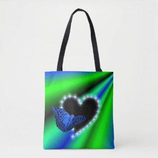 Tote Bag Coeur noir avec les étoiles et le papillon sur