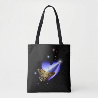 Tote Bag Coeur pourpre bleu d'arc-en-ciel avec des étoiles