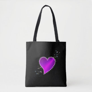 Tote Bag Coeur pourpre rose d'arc-en-ciel avec des étoiles