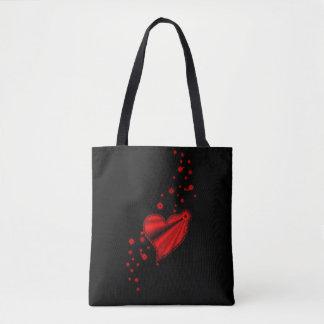 Tote Bag Coeur rouge d'arc-en-ciel avec des étoiles sur le