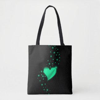 Tote Bag Coeur vert d'arc-en-ciel avec des étoiles sur le