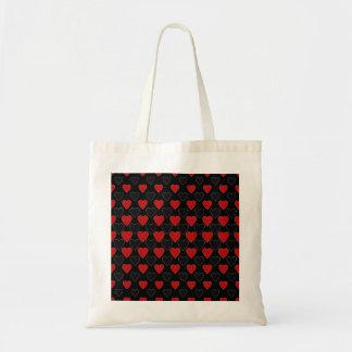 Tote Bag Coeurs en noir et rouge