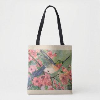 Tote Bag Colibri et fleurs fourre-tout