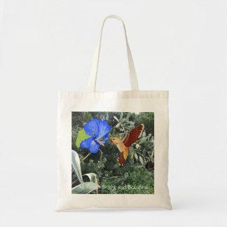 Tote Bag Colibri et ketmie bleue avec des plantes