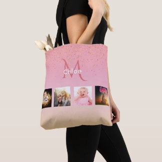 Tote Bag Collage fait sur commande de photo sur l'or rose