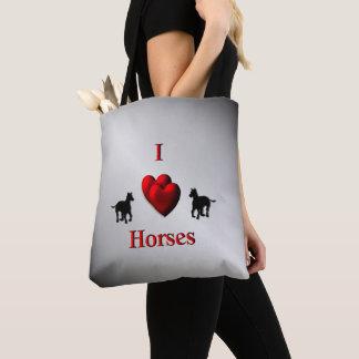 Tote Bag Conception de chevaux de coeur du cool I