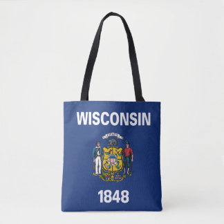 Tote Bag Conception de drapeau du WISCONSIN -