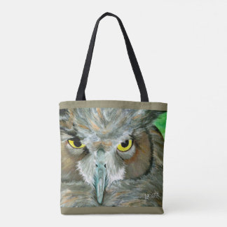 Tote Bag Conception de hibou : (Teal/Taupe) Fourre-tout