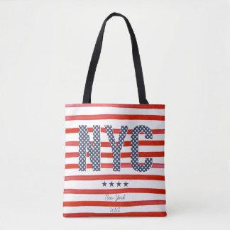 Tote Bag Conception de rouge de NYC |, blanche et bleue