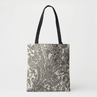 Tote Bag conception florale en noir et blanc