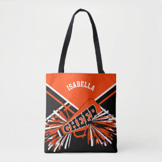 Tote Bag Conception orange, noire et blanche de pom-pom