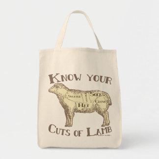 Tote Bag Connaissez vos coupes de l'agneau do-it-yourself