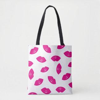 Tote Bag Copie chic de rouge à lèvres de motif de lèvres de