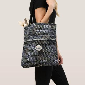 Tote Bag Copie grise de crochet de texture de Shell de