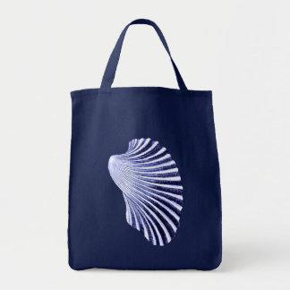 Tote Bag Copie, marine et blanc de bloc de Shell de feston