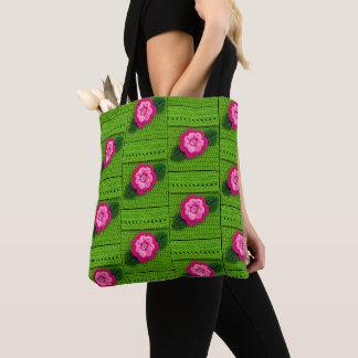 Tote Bag Copie rose de crochet de vert de ressort de fleur
