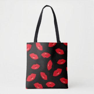 Tote Bag Copie rouge de rouge à lèvres de motif rouge
