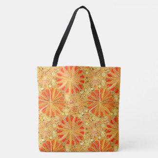 Tote Bag Copie tribale de mandala, or de moutarde et orange