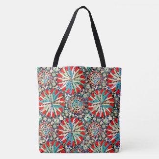 Tote Bag Copie tribale, rouge, bleu et crème de mandala