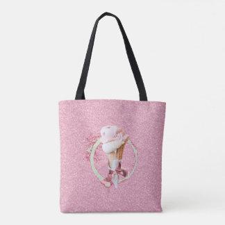 Tote Bag Cornet de crème glacée rose Fourre-tout de sucre