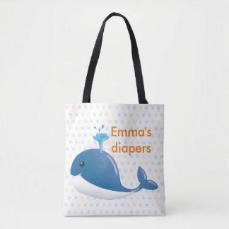 Tote Bag Couche-culotte fourre-tout de baleine bleue avec